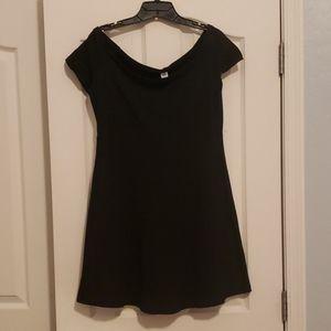 Black off-the-shoulder skater dress